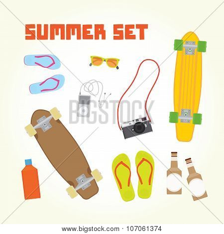 Summer objects isolated vector set
