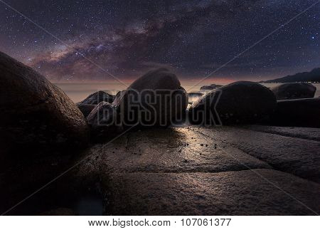 The Stone Beach Under Starry Night Clearly With Milky Way