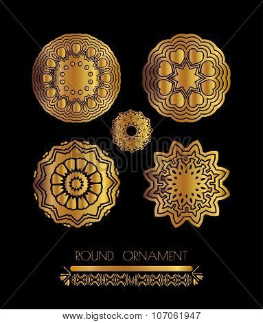 Mandala golden set. Gold Circular ornament  set