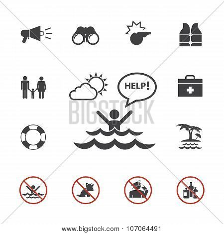Lifeguard and beach warning icon set