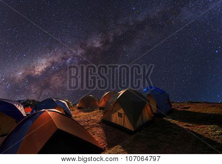 Camping On The Top Of The Mountain Under The Clear Milky Way