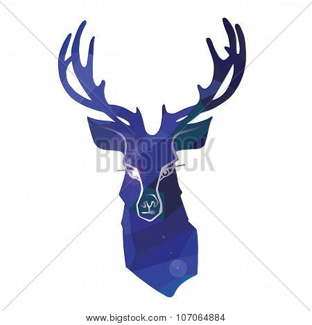 Cartoon deer in polygon ornament