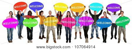 Refugees Welcome Group Of Young Multi Ethnic People Holding Speech Bubbles