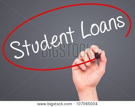 Man Hand writing Student Loans with black marker on visual screen.