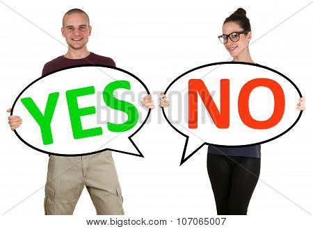 Young People Man Woman Choosing Voting Yes No