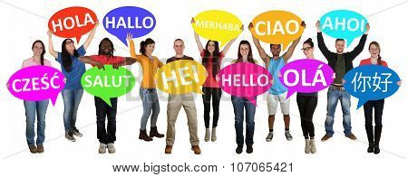 Group Of Young Multi Ethnic People Holding Speech Bubbles With Hello