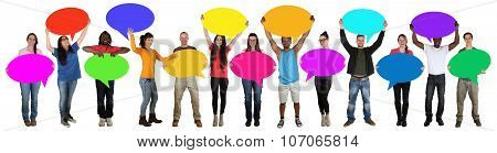 Group Of Happy Young Multi Ethnic People Holding Speech Bubbles With Copyspace