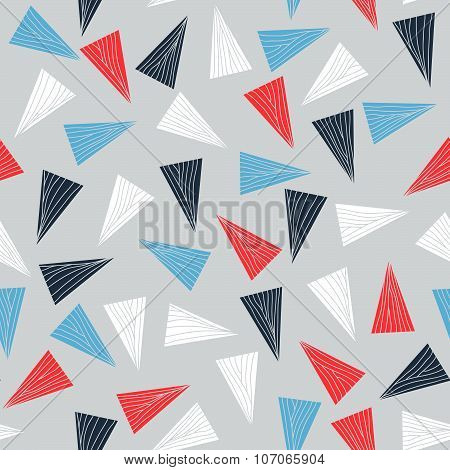 Seamless pattern with colorful triangles.