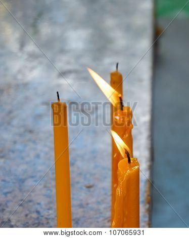 Candle Flame Light In Temple