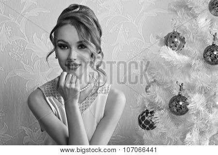 Lovely Girl With Decorated Xmas Tree Bw