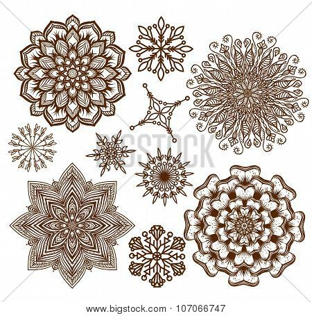 Set ornament mandala. Ethnic decorative elements. Holiday, kalei