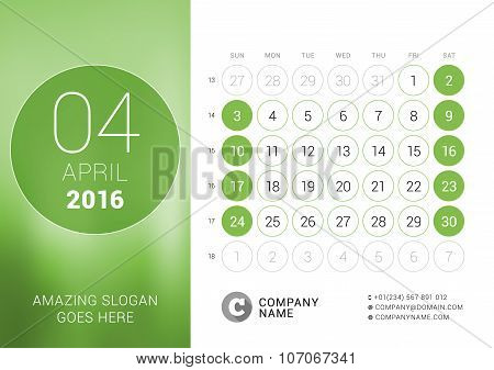 April 2016. Desk Calendar For 2016 Year. Vector Design Print Template With Place For Photo And Circl