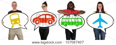 Young People Choosing Transport Bus, Train, Car Or Plane