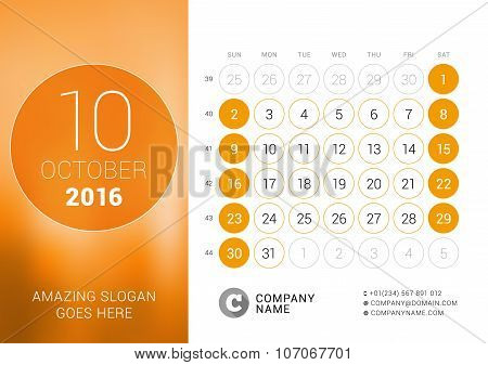 October 2016. Desk Calendar For 2016 Year. Vector Design Print Template With Place For Photo And Cir