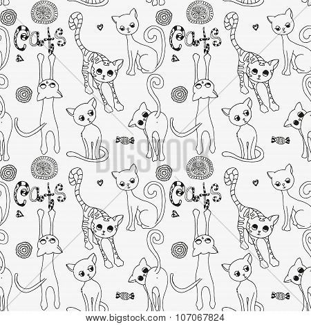 Seamless pattern with cute funny cats. Black and white  background. Made by trace from sketch. Page