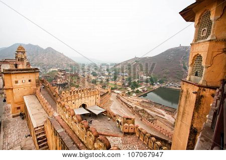 Fantastic scene from the stone walls of the indian Amber Fort in Rajasthan