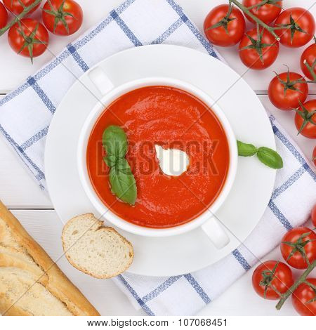 Tomato Soup Meal With Tomatoes In Cup From Above Healthy Eating