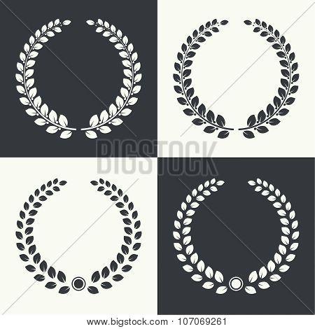 vector circular laurel wreath.