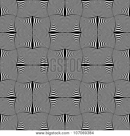 Seamless geometric op art pattern. Vector graphics.