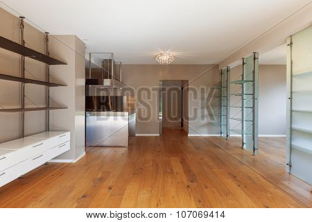 Interior of modern house, unfurnished apartment, open plan living