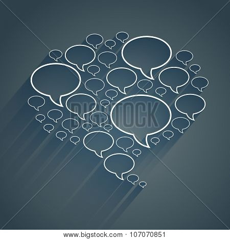 White flat chat bubble symbol with long blue shadow on dark grey background