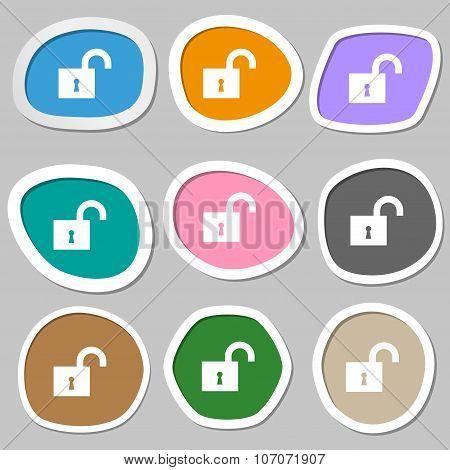 Open Lock Icon Symbols. Multicolored Paper Stickers. Vector