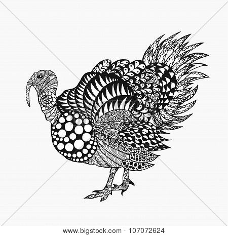 Zentangle Stylized Turkey.