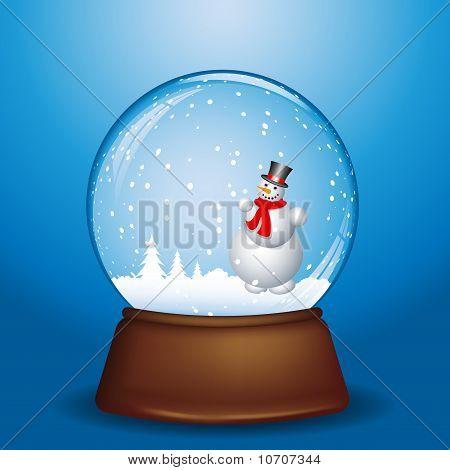 Snowman In Snow Globe