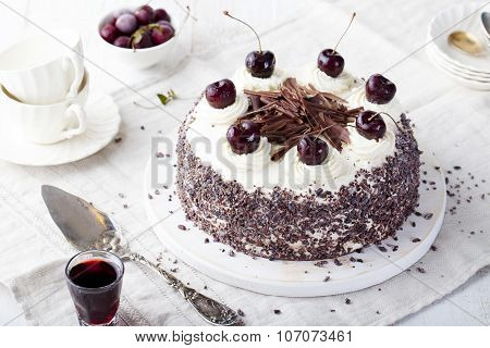 Black forest cake, Schwarzwald pie, dark chocolate and cherry dessert.
