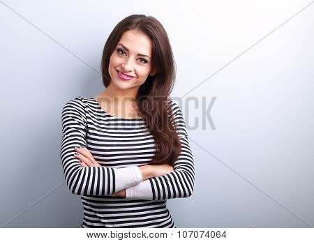 Beautiful Smiling Casual Woman With Folded Hands Looking Happy
