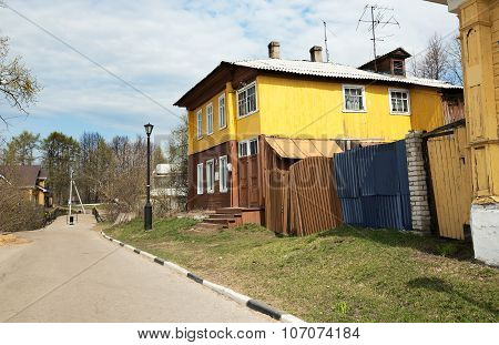 Old Wooden Two Story House In Gorodets