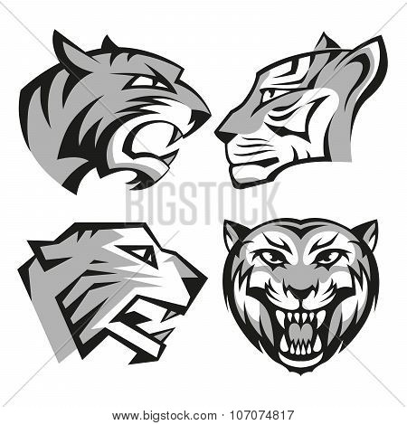 Black and grey tiger head logos set for business or shirt design