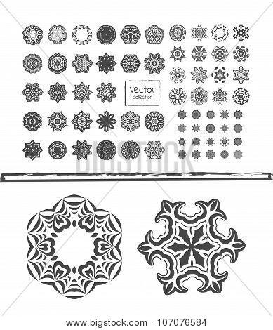 Geometric circular ornament set. Round symbols set.