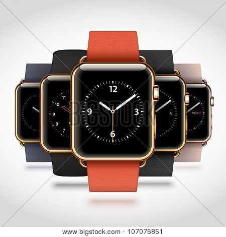 Set of 5 edition modern shiny golden smart watches