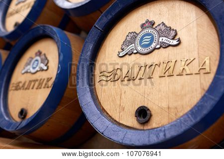 ST. PETERSBURG, RUSSIA - OCTOBER 24, 2015: Beer barrels at the Baltika - St Petersburg brewery during the October Beer Festival. The brewery is providing guided tours to the plant regularly