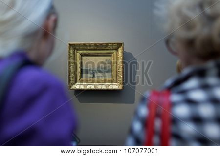 ST. PETERSBURG, RUSSIA - OCTOBER 22, 2015: People watching the exhibition of Pavel Fedotov, 1815-1852, in the Russian Museum. The exhibition is dedicated to 200th anniversary of the painter