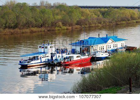 Floating Landing Stage With Boats On  The River Oka In Nizhny Novgorod
