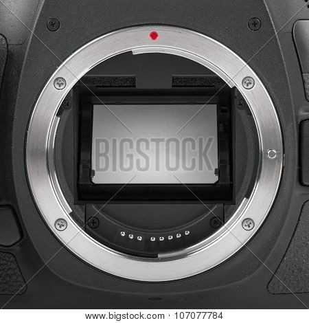 Closeup Of Camera Sensor Mirror