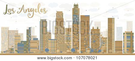 Los Angeles Skyline with Grey Buildings and Blue Sky. Business travel and tourism concept with modern buildings. Image for presentation, banner, placard and web site.