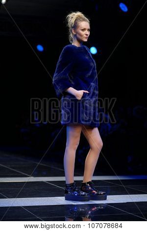 ST. PETERSBURG, RUSSIA - OCTOBER 27, 2015: Collection of Fur House ZIMA at the fashion show during Mercedes-Benz Fashion Day St. Petersburg. It is one of the most popular fashion events of the city