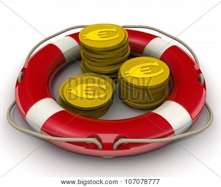 The safety concept of financial savings. Coins with the euro symbol