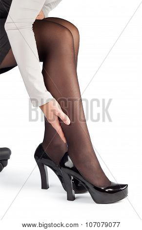 Hurting Legs Of Business Woman In Chair Isolate
