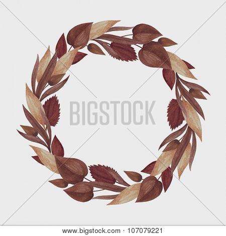 Wreath of autumn golden brown leaves.