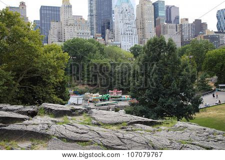 NEW YORK, USA - SEP 08, 2014: Removing amusement rides in Central Park in New York City