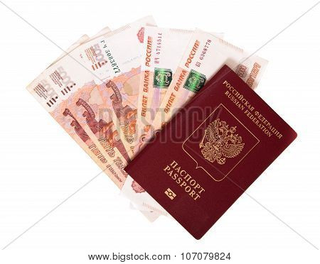 The Russian Passport Lies On A Pile Of Notes (rubles)