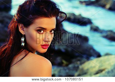 Sexy Beautiful Woman With Dark Hair Posing On Summer Beach