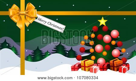 merry christmas greeting card version gold and green