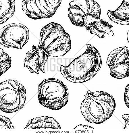 Vector Dumplings Pattern. Vintage Sketch Illustration.