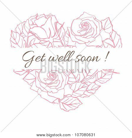 Get Well Soon. Friendly Vector Vintage Card With Flower Drawing