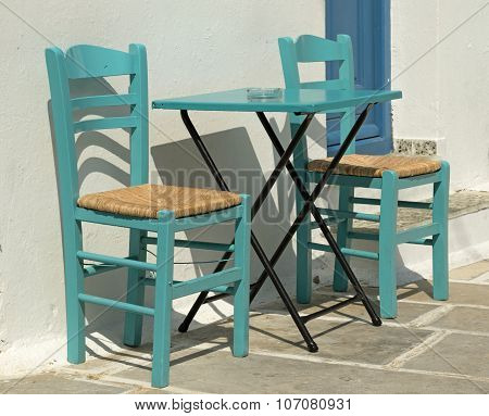 Cafe Table In Greek Island